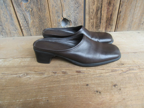 90s Chocolate Square Toe Leather Mules | Low Heel… - image 2