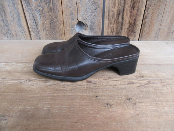 90s Chocolate Square Toe Leather Mules | Low Heel… - image 3
