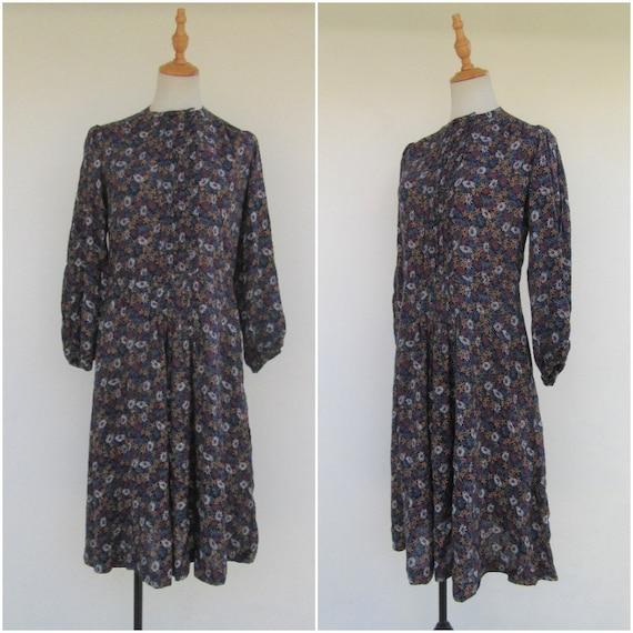 80's Floral Print Long Sleeve Dress   80's Long Dr