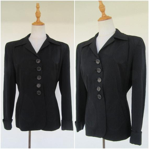 Vintage 1940's Gabardine Blazer | 40's Blazer | Bl