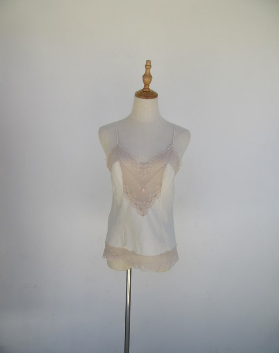 80s Ivory Lace Camisole   Silky Camisole   Lace De