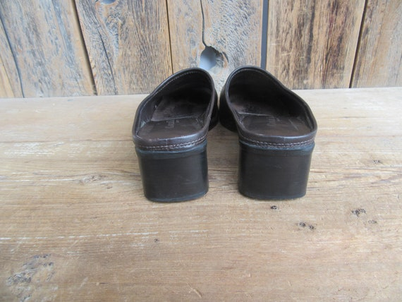 90s Chocolate Square Toe Leather Mules | Low Heel… - image 5