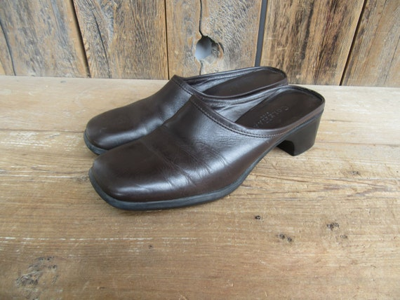 90s Chocolate Square Toe Leather Mules | Low Heel… - image 1