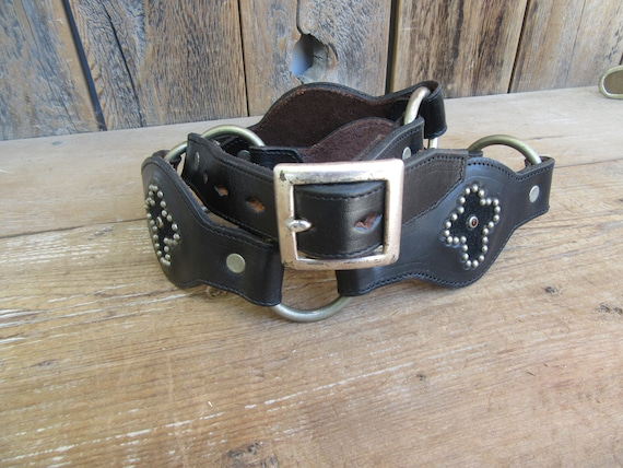 1990s Black Studded Rhinestone Cross Leather Harne