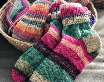 Hand Knit Hand Dyed Hand Spun  Wool Socks  Sz Large Size 8-10 Autumn Harvest FREE Shipping Offer