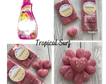 Misc Scents Banana Tropical Escape Mystery Box of HIGHLY SCENTED Wax Melts Tarts Shapes Sizes Ocean Coconut Pineapple Tropical Fruits