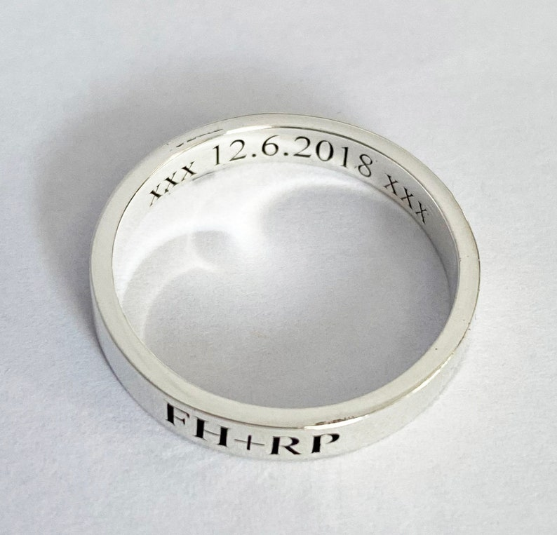 Handmade Name Band Ring,Personalized Rings for Women,Promise Ring 925 Sterling Silver For Girlfriend