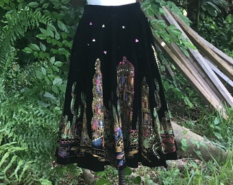 Vintage 1970/'s Heavy Bead Sequin and Floral Appliqu\u00e9 Black Wool Maxi Skirt Frida Kahlo Mexican Style by /'Hauser/' UK Size 8 US 4