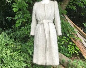 1950s Designer Label Bonwit Teller Faux Fur Swing Coat