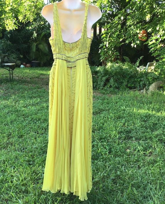 Chiffon silk dress with beads - image 4