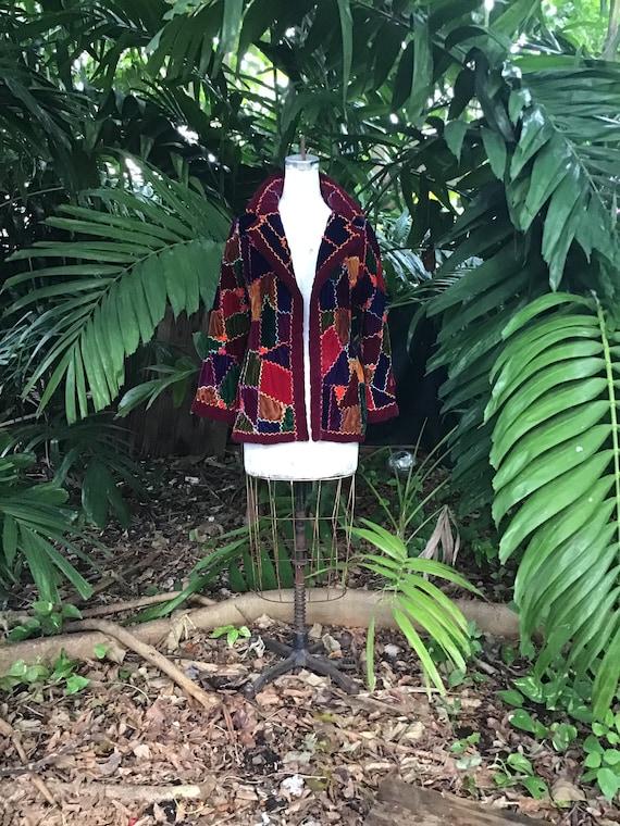 Hippy chic Velvet patchwork jacket