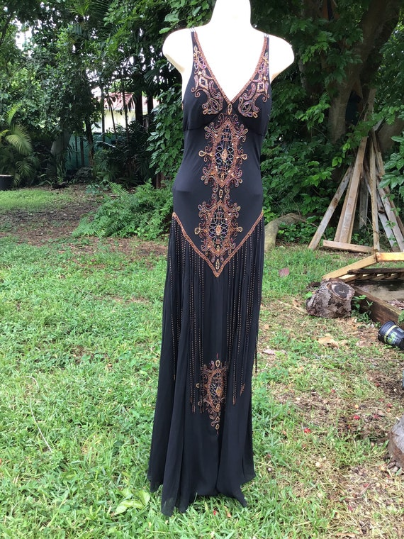 Vintage Cache silk beaded dress
