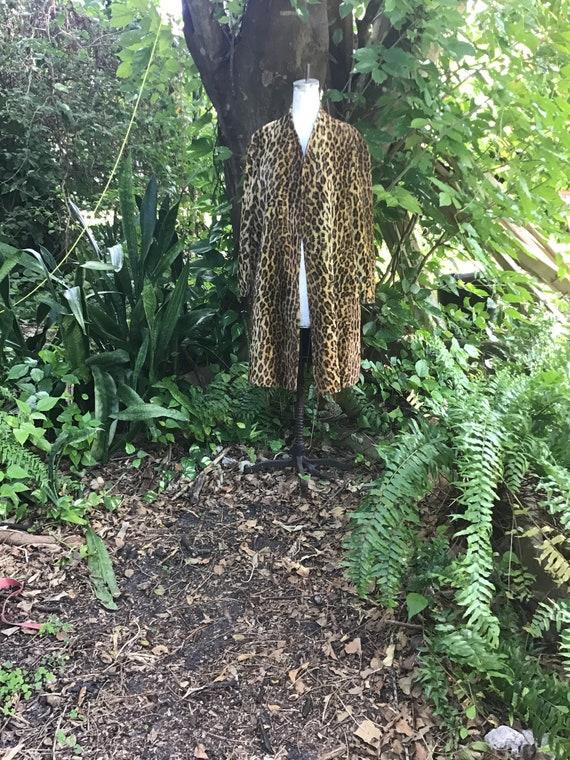 Leopard 100% lambs wool Swing Coat
