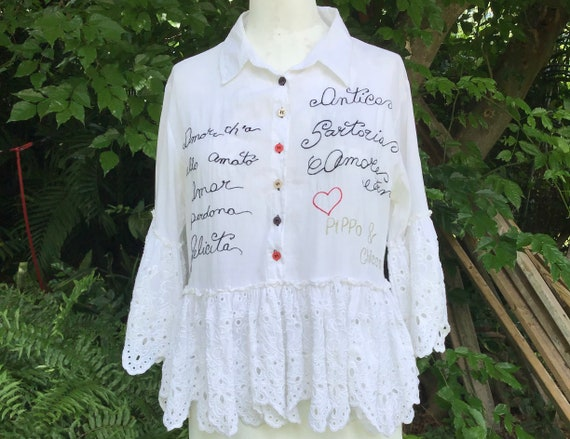 Cotton shirt with embroidery and ruffles