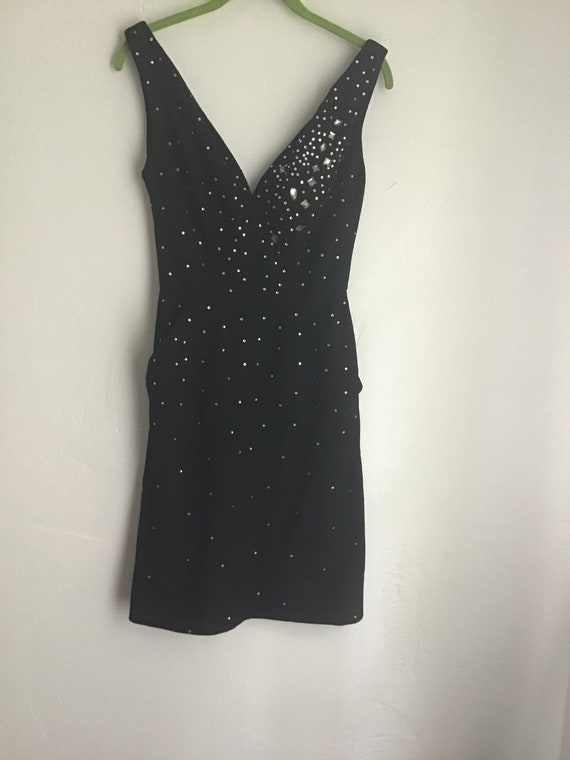 Vintage 1980s cocktail dress in wool with sequins