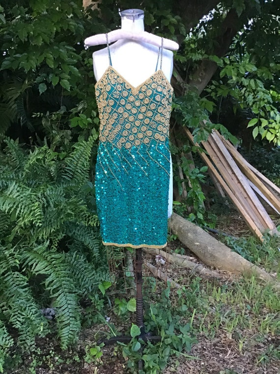 Sequins and beads 1980s silk  dress size 2