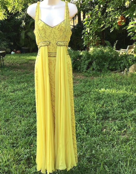 Chiffon silk dress with beads - image 3