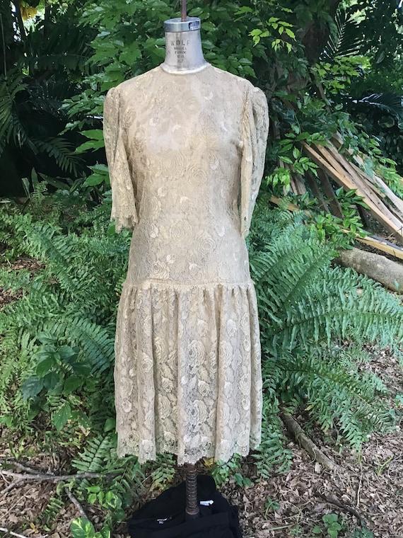 Vintage Albert Nipon dress silk lace