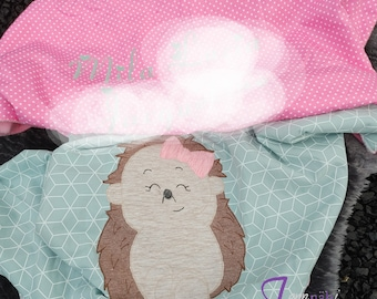personalized baby blanket with hedgehog