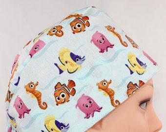 Anemone Reversible Ponytail Scrub Hat Clown Fish Nemo Digital Prints OR Hat Abalone Surgical Hat Scrub Cap