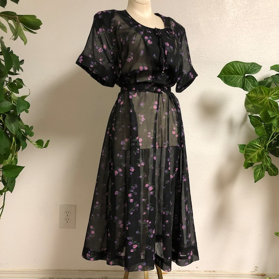 1940s-50s Black Cotton Voile Dress