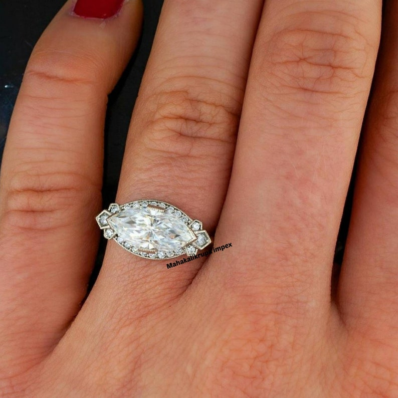Sterling Silver Ring Marquise Stone Ring Moissanite Engagement Ring Bridal Set Couple Ring For Women Matching Ring Anniversary Gift