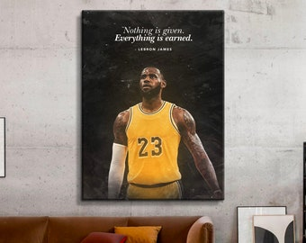 LeBron James Famous Basketball Legends Sport High Quality Canvas And Poster Print Wall Art Home Gym Modern Art Motivational Quote