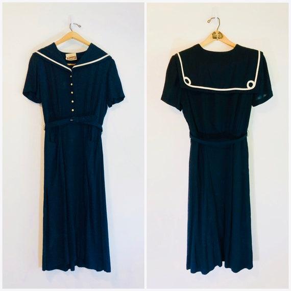 Vintage 1940s Nautical Sailor Dress