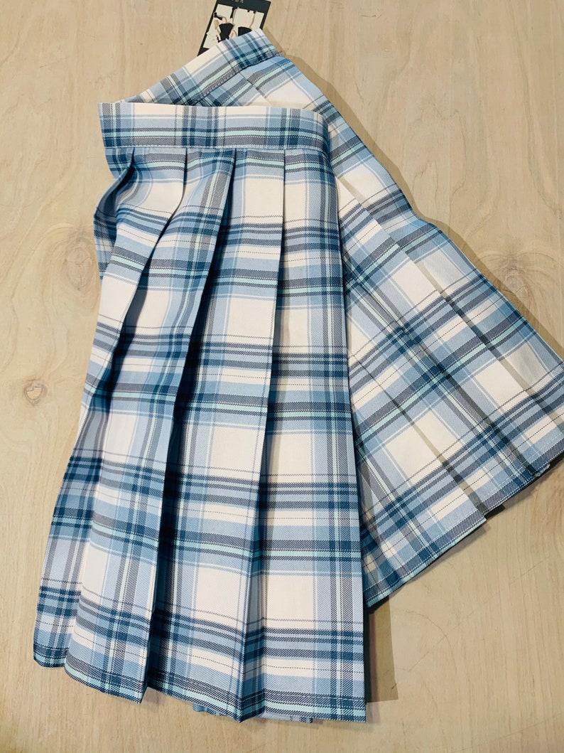 NEW Blue Plaid Lolita Goth Pleated Skirt