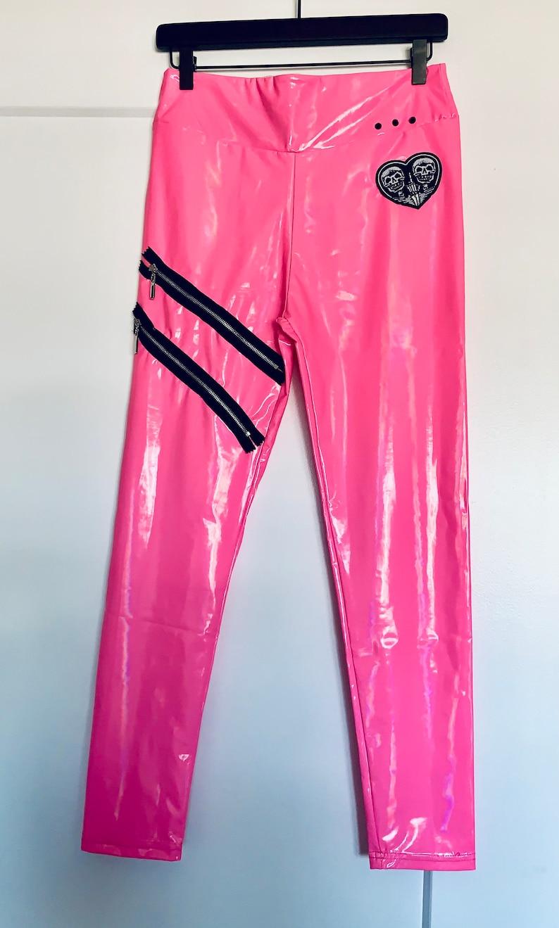 NEW Cybergoth Pink Zipper Leggings