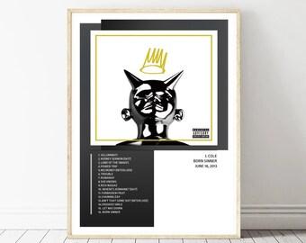 20x20 24x24 Poster J Cole Born Sinner 2013 Album Cover Hip Hop Rap K-33