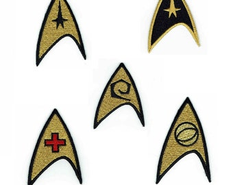 Star Trek Space Exploration Set Go Beyond 5 Piece Gold and Black Iron On Patches