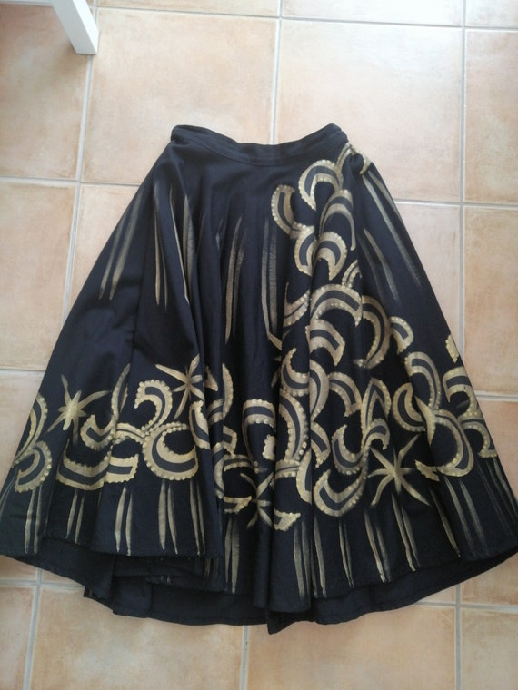 Hand painted black and gold sparkle circle skirt