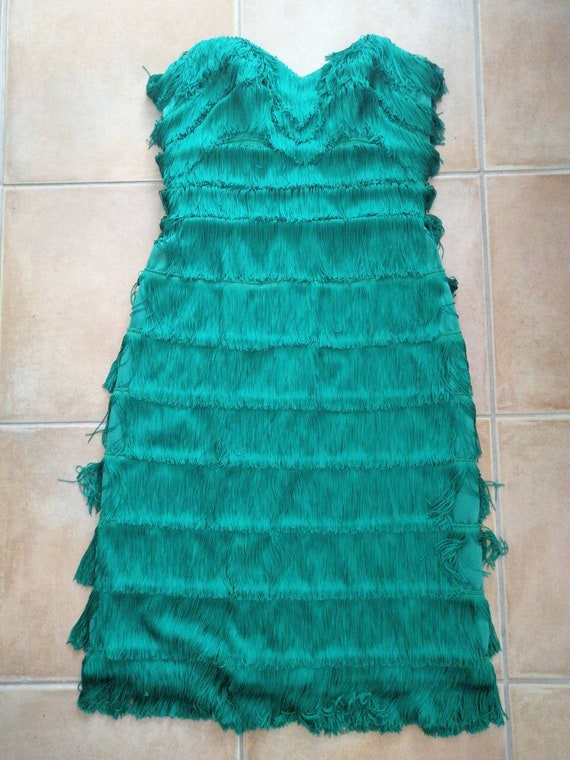 Holidays party dress! 50s style green fringe dress
