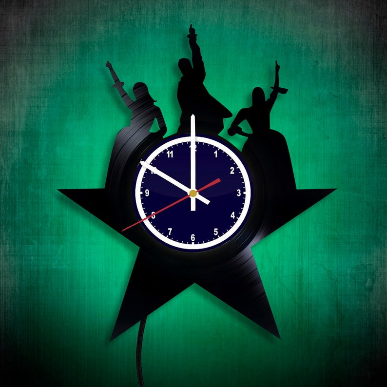 Broadway musical Vinyl Record LED Light Wall Clock We want a revolution Unique Vinyl Home