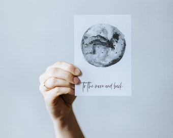 To the moon and back | A6 gold foil Postcard