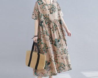 Navy Blue Leaf Print Short Sleeve Linen Blend Maxi Kaftan Dress