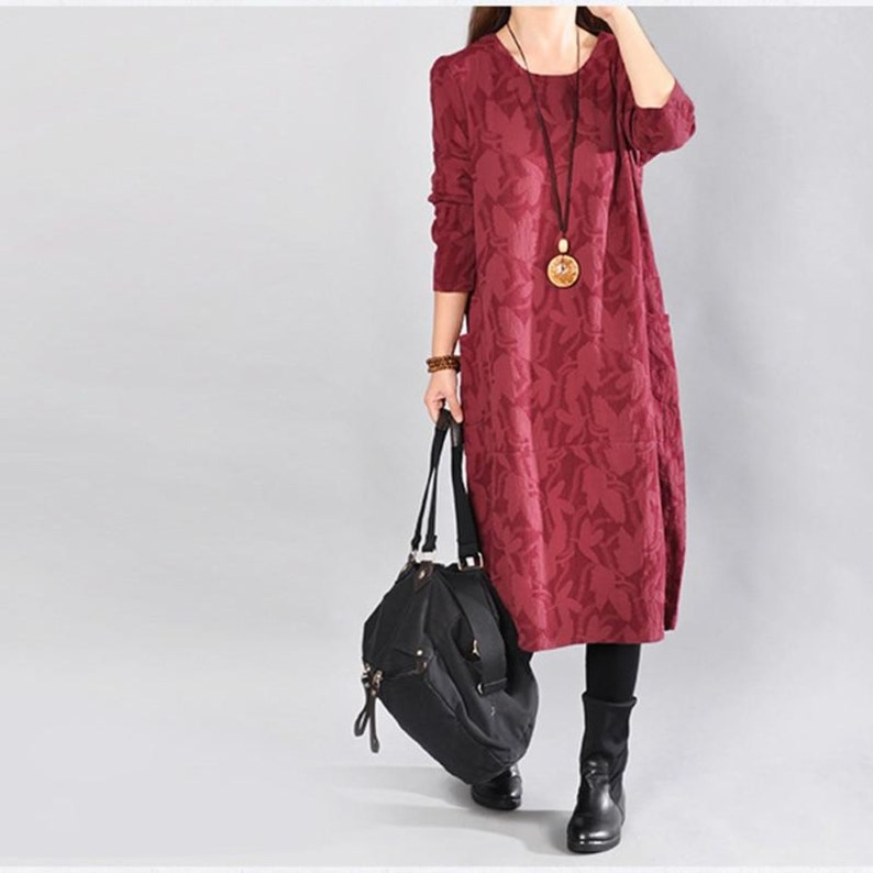 Long Sleeve Jacquard Linen Blend Midi Dress with Pockets
