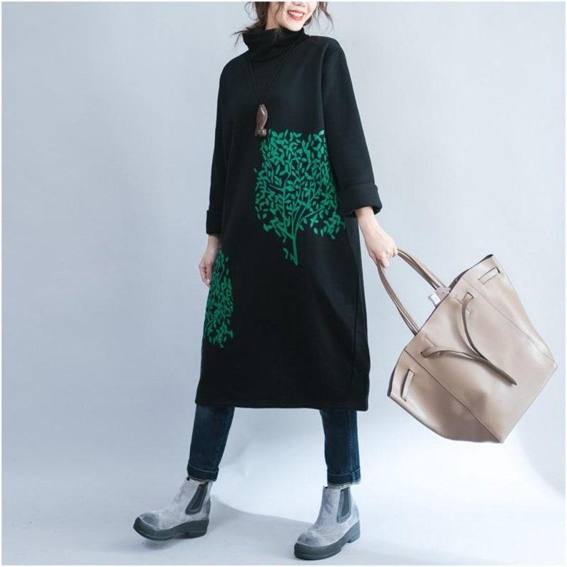 Black Green Tree Print Long Sleeve Cotton Blend Mini Turtleneck Tunic Sweatshirt Dress with Pockets