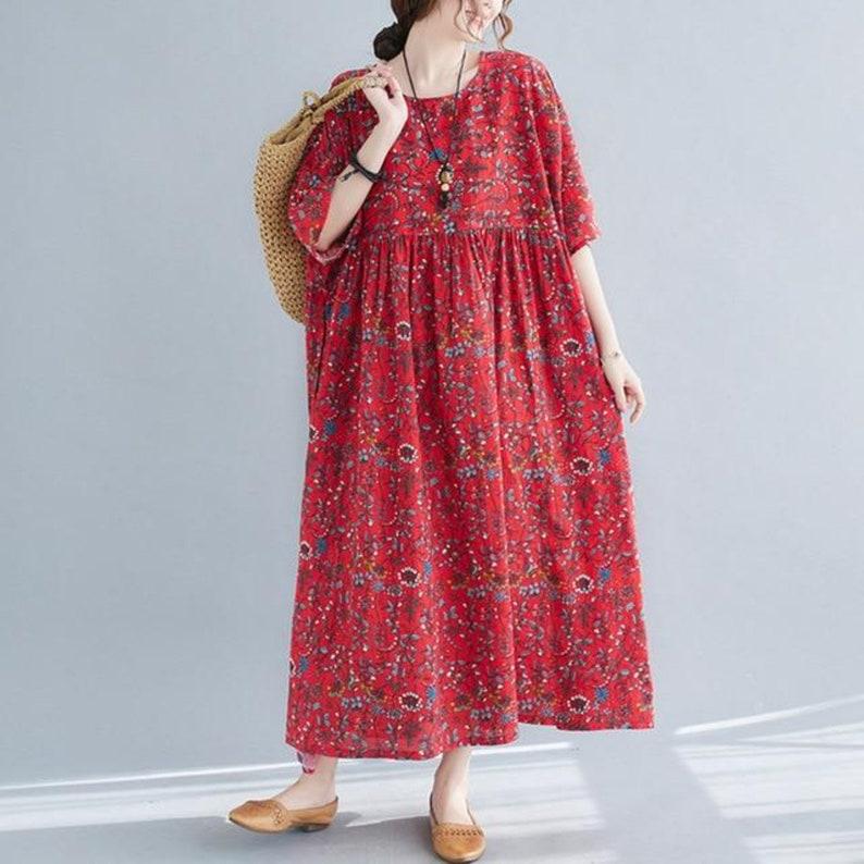 Red Floral Print Half Sleeve Cotton Blend Maxi Kaftan Dress with Pockets