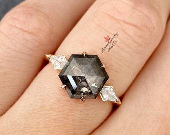 Salt And Pepper Hexagon Shape Minimal Diamonds Best Price Diamonds Engagement Ring Jewelry Diamonds 1.36 CT 3.5 To 4.0 MM OM4344 6 pcs