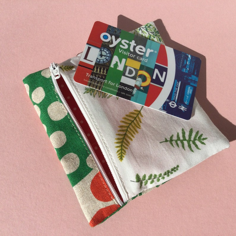 Coin Purse Cotton 100/% Gift For Her For Him Small Pouch Card Purse Leaves Print Fabric Small Zip Purse Japanese Fabric