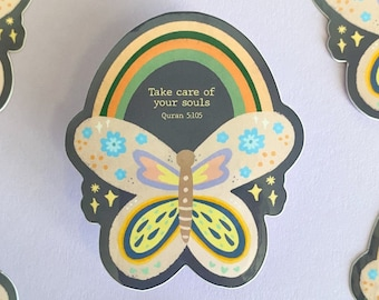 """Butterfly """"Take Care of Your Souls' - Quran 5:015"""" Sticker,Quranic verse sticker,islamic sticker,pastel islamic sticker,muslim sticker,cute"""