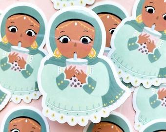 Sticker - It's Boba Time Sticker, cute hijabi with boba sticker, cute sticker,muslim sticker, hijabi sticker, boba sticker
