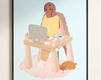 "Print - Study Sesh Art Print,8x10"" or 4x6"" Mini Poster,8x10 Art Print,Cute Hijabi Art Print,Aesthetic Room Print,Pastel Room Print"