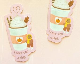 I Love You A Latte Sticker, Cute Hijabi Sticker,Muslim Sticker,Hijabi Sticker,Latte Sticker,Islamic Stationary,Planner Sticker