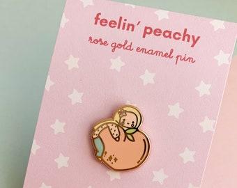 Enamel Pin-Feelin' Peachy, Cute Hijabi Enamel Pin, Pastel Enamel Pin, Muslim Pin Hijab Pin, Muslim Enamel Pin, Islamic Pin Enamel