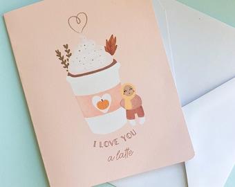 Card - I Love You A Latte, Cute Hijabi Greeting Card,Hijabi Card, Muslim Greeting Card, Cute Muslim Thank You Card,Cute Hijabi Greeting Card