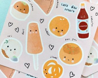 Cute Desi Foods Sticker Set,Desi Treats,Weatherproof Pastel Food Stickers,Kawaii Desi Stickers, Indian Snacks Stickers, Desi Snacks Stickers