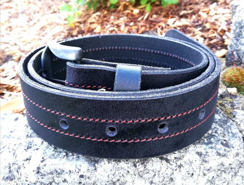 wedding gift ladies mens birthday caledro Black leather belt with stainless steel buckle and double seam